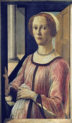 Sandro Botticelli - Portrait of a Lady at the window (Smeralda) [1470-75]    Sandro Botticelli - Portrait of a Lady at the window (Smeralda) [1470-75]   London VAM  Renaissance faces catalogue no. 014