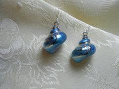 Blue Focal Shell Earrings with Sterling Silver by TheSaltyShell, $20.00