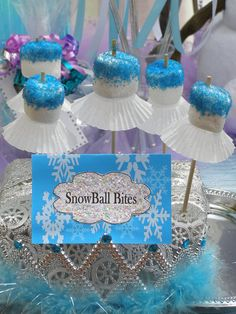 Frozen Disney Princess Birthday Party marshmallow pops!  See more party ideas at CatchMyParty.com!