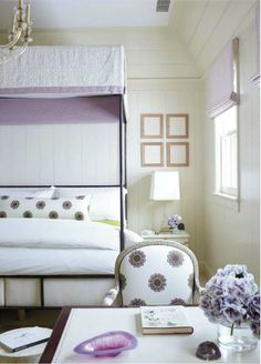source: Traditional Home Timothy Whealon Interiors - Sweet lilac & purple girl's bedroom with iron canopy bed, white & lilac canopy bed cover, white 7 purple lumbar pillow, lilac linen roman shade, white & lilac chair and desk. Home Bedroom, Girls Bedroom, Bedroom Decor, Girls Canopy, Bedroom Ideas, Canopy Bedroom, Canopy Beds, Bedroom Retreat, Bedroom Designs