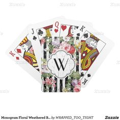 Monogram Floral Weathered Black Stripe Deck Of Cards