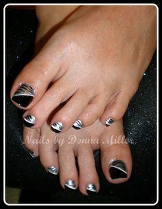 Black and Silver Toes by NailsbyDonna - Nail Art Gallery nailartgallery. Pedicure Designs, Pedicure Nail Art, Toe Nail Designs, Manicure Ideas, Nails Design, Nail Tips, Nail Ideas, Pretty Toe Nails, Pretty Nail Colors