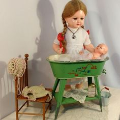 Bathing day for dolly! Check out our antique doll furniture section at ShabbyGoesLucky's! Antique Dollhouse, Dollhouse Miniatures, Doll Furniture, Dollhouse Furniture, Dolls Prams, Bear Doll, Old Dolls, Shabby Chic Cottage, Hello Dolly