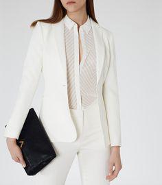 Reiss Isla Blazer Women's White Longline Blazer