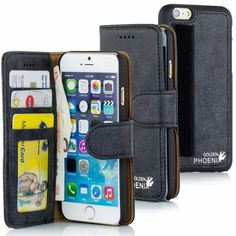 Golden Phoenix iPhone 6 Tasche Royal aus Wildleder schwarz