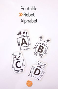 Printable Robot Alphabet - Create in the Chaos Kids Learning Activities, Alphabet Activities, Fun Learning, Robot Bulletin Boards, Sistema Solar, Robot Theme, Printable Crafts, Free Printables, Easy Crafts For Kids