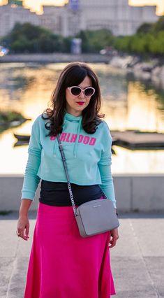 Marshmallow situation: minty hoodie, hoodie, crop top, pink skirt, midi skirt, sporty look, grey bag,michael kors bag, new balance