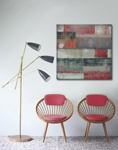 """Original Abstract painting - Red and Grey Blocked - Acrylic painting - 35,4"""" x 35,4"""" - Free shipping"""