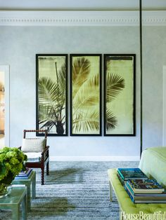 A large photo triptych adds a tropical spirit to subdued glazed walls.