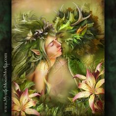 """""""Last Kiss"""" - from my Fantastical Fantasy Collection. http://www.mysticmoonmedia.com/collections/art-gallery-giclee-prints-mystic-moon-media/products/last-kiss #FantasyArt #FantasyArtwork #DigitalPainting #FantasyArtPrints #digitalFantasyArt #greenman #paganart #wiccan  -C.Gerhardt"""