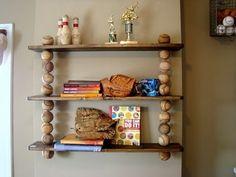 neat baseball book shelf