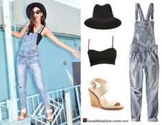 Buy Victoria Justice's Black Hat, Black Bralette, Overalls, and Beige Sandals, here!