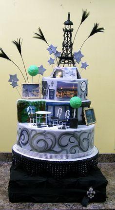 Passport to Paris cake with custom cake platform