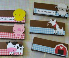 Farm Animals (cow,chicken, pig, horse, sheep and barn)  Themed Treat / Party Favor Thank You Goodie Bags (Set of 20). $12.00, via Etsy.