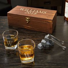 8215c2778af87 Schaefer Personalized Whiskey Stones and 6 oz Shot Glasses Gift Set