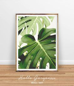 Tropical Leaf Printable Art Monstera Leaves Decor Green Wall Instant Download