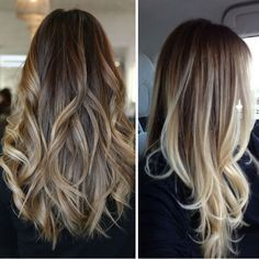 Dark brown ombre hairstyle to blonde with bright highlight, balayage hairstyles, trend of 2015