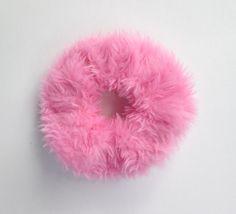 BIG Cute Kawaii Pink Fur Scrunchie, Chouchou, Clueless 90s Faux Fur Hair Band, Ponytail Holder