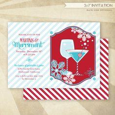 Merry Martini Christmas Party - CUSTOM PRINTABLE Invitation. $16.50, via Etsy.