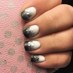 Black and white gradient with silver glitter nail art