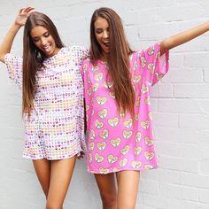Elisha + Renee being babes!❤️ Shop our rad range of oversized 'O'MIGHTY' tee shirts! ❤️ Shop them now via peppermayo.com.au