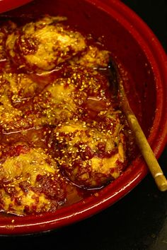Chicken Smothered With Honey and Tomato Jam Cooked In A Tagine Pot