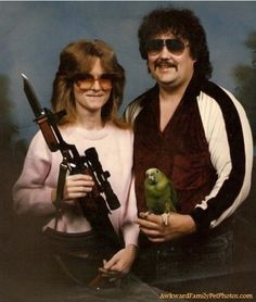 """Umm, normally I'd make up my own pin caption, but in this case, why?  """"Honey Tits, What Do You Wanna Bring To Our Family Photo? I'm Bringin' Cracker.""""  """"Um. My Scoped Rifle. And.....The Bayonet."""""""