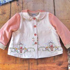 Little Girl Coat Size 6 Vintage Embroidered Jacket
