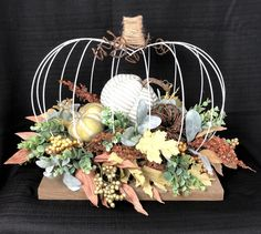 Excited to share this item from my shop: Fall Centerpiece Fall Decor Thanksgiving Centerpiece Thanksgiving Decor Autumn Decor Harvest Decor Pumpkin Centerpiece Farmhouse Arrangement Fall Table Centerpieces, Thanksgiving Centerpieces, Metal Pumpkins, Harvest Decorations, Pumpkin Wreath, Fall Wreaths, Diy Baby, Fall Crafts, Shower Gifts