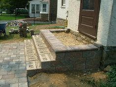 We Show The Way We Construct Steps Using Wall Stones With Photos & Descriptions - Newtown Square PA from Robert J. Patio Steps, Front Porch Steps, Brick Steps, Outdoor Steps, Concrete Porch, Concrete Steps, Concrete Garden, Landscape Pavers, Landscape Design
