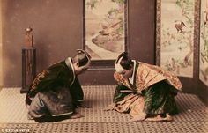 Respect: A pair of warriors take part in a traditional samurai ceremony. The samurai were bound by a set of Confucian influenced rules that came to be known as bushid¿