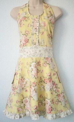 Yellow Full Apron, Cottage Chic, Cottage Rose