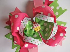 Large Stacked Birthday Hair Bow by prettynposhbowtique on Etsy, $8.00