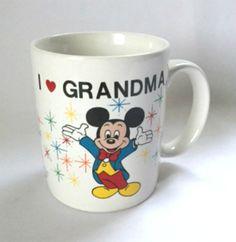 Disney Mug I Heart Grandma Mickey Mouse Cinderella Castle Epcot Coffee Cup