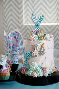 A beautiful mermaid birthday cake Mermaid Birthday Cakes, Mermaid Cakes, Beautiful Mermaid, Desserts, Mermaids, Tailgate Desserts, Deserts, Postres, Dessert