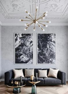 Monochromatic room using mostly black, white and nu… Designer: Brook Lang design. Monochromatic room using mostly black, white and nude. Elegant Living Room, My Living Room, Living Room Interior, Interior Livingroom, High Ceiling Living Room, Modern Living, Luxury Living, Grey Living Rooms, Black White And Grey Living Room