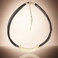 peter lang necklace gold and oxidised metal
