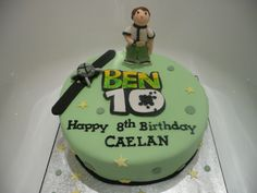 Ben 10 Cake - 10 inch chocolate with gumpaste figure and logo. first time trying to cut out letters by hand, turned out ok.