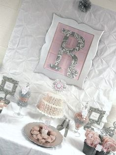 """Photo 3 of 29: Pink + Grey Damask Baby Shower / Baby Shower/Sip & See """"Pink + Gray Damask Baby Shower"""" 