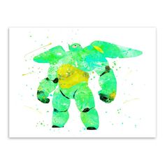 Original Watercolor Baymax Robot Pop Movie Poster Print Anime Cartoon Picture Home Wall Art Decor Canvas Painting No Frame