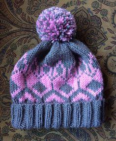 Hannah's Hat – a free knitting pattern by Kathrina Cox. Fair Isle Knitting Patterns, Knitting Machine Patterns, Hat Patterns, Kids Patterns, Knitted Headband, Knitted Hats, Knitted Bunnies, Cable Knit Hat, Beanie Pattern