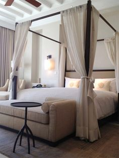 Four poster bed canopy bedroom set modern edge calms down the frilliness of the canopy - Small Room Decorating Ideas Canopy Bedroom, Dream Bedroom, Home Bedroom, Bedroom Decor, Canopy Beds, Ikea Canopy, Canopy Curtains, Fabric Canopy, Bedroom Ideas