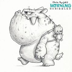 Don't be afraid to be yourself! 🐻💪 – Graffiti World Cartoon Sketches, Art Drawings Sketches, Cartoon Art, Cute Drawings, Monster Sketch, Monster Drawing, Monster Art, Cute Monsters Drawings, Cartoon Monsters
