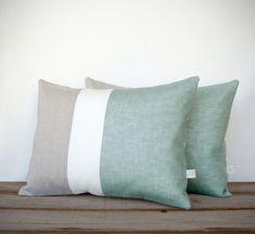 Color Block Pillows in Sage, Cream and Natural Linen by JillianReneDecor - Modern Spring Home Decor - Decorative Pillows - Mint Hemlock