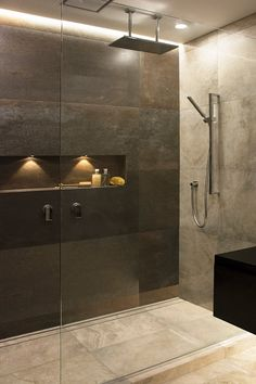 Dark bathroom using Steel Corten from Tile Space