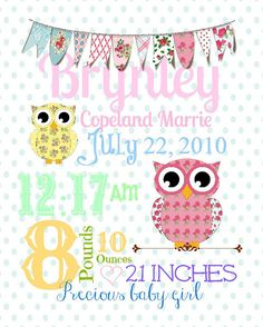 Birth announcement subway art by TheLaughingLadybug on Etsy, $12.00