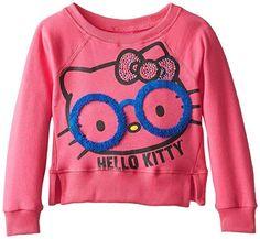 NWT Sanrio HELLO KITTY Stud Graphic Raglan Sweatshirt Long Sleeve Top Fuchsia 2T #HelloKitty #Everyday