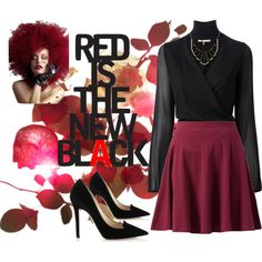 """Red is the new black!"" by thebeautifulfreedom on Polyvore"