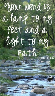 Your word is a lamp to my feet and a light to my path. ~ Psalm 119:105 #bibleverses