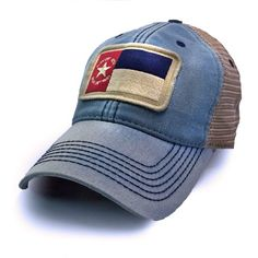 North Carolina 1861 Flag Trucker Hat, Heritage Collection, Americana Blue